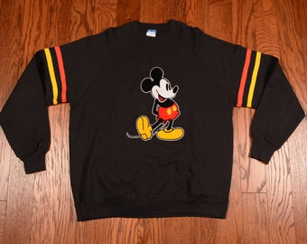 vintage 80s Mickey Mouse sweatshirt black sweatshirt stripe sleeve Disney Mickey jumper  Made USA velvet Mickey XL XXL