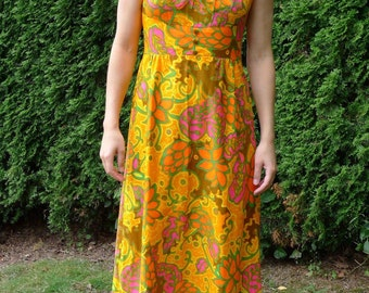 1970s psychedelic print dress - Ladies medium