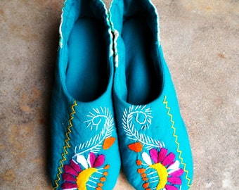 womens slippers boho shoes house slipper handmade slippers upcycled mexican dress cotton slippers