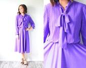 Vintage modest long sleeve dress // boho fall dress // 1960's bright purple spring dress // elastic waist modest dress // boho summer dress