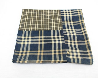 Vintage Japanese Boro Futon Cover. Ikat Indigo Cotton. Check Plaid Blue Natural Yellow Brown Fabric. (Ref: 1184)