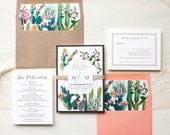 "Desert Cactus Wedding Invitations, Burlap, Kraft, Coral, Bohemian Invites, Floral Envelope Liners - ""Desert Love"" Sample"