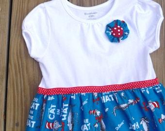 Cat in the Hat Tee Shirt OR  Bodysuit Dress / Dr. Seuss Dress / Toddler Dress / Baby Dress