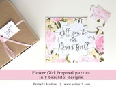 Will You Be my Flower Girl, puzzle, bridal party proposal, flower girl card, watercolor flowers, pink peonies