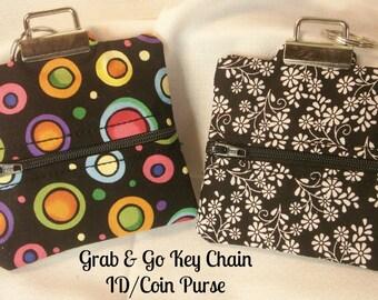 Key Chain, ID Coin Purse, Grab and Go ID Key Chain Coin Purse