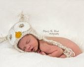 Baby Owl Hat--Beige Soft & Fuzzy Crochet  Newborn Photo Prop or Halloween Costume
