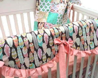 Dream Catcher Baby Girl Bedding - Feather Baby Girl Bedding - Arrow Baby Girl Bedding