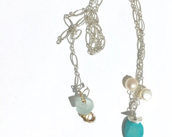 Sleeping Beauty Turquoise,  White Pearl Silver Necklace, Lilyb444, Etsy jewelry,
