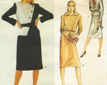 80s Christian Dior Womens Asymmetrical Wrap Jacket & Straight Skirt Vogue Paris Original Sewing Pattern 2470 Size 12 Bust 34