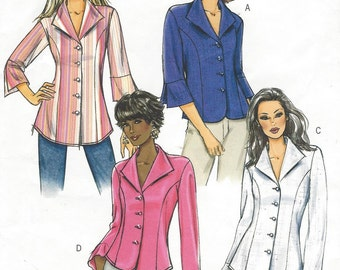 Plus Size Womens Button Front Shirts Princess Seams OOP Butterick Sewing Pattern B4659 Size 16 18 20 22 Bust 38 40 42 44 UnCut