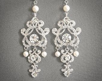 Bridal Earrings Small Wedding Earrings Swarovski Crystal Pearl