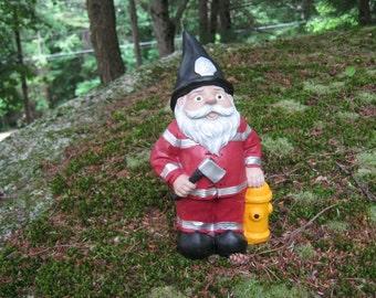 Fireman Gnome Statue, Fire Fighter Garden Gnome, Concrete Gnome, Garden Gnome Statues, Stone Fire Man Figure, Gnome Garden Decor