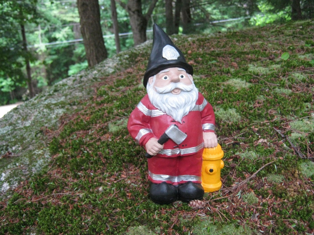 Gnome Garden: Fireman Gnome Statue Fire Fighter Garden Gnome Concrete