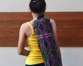 Handmade Yoga Mat Bag Yoga Bag Tote Yoga Sling bag Pilates Bag Pilates Mat Bag Woven Yoga Bag Green Pink  bag Cotton bag YG13