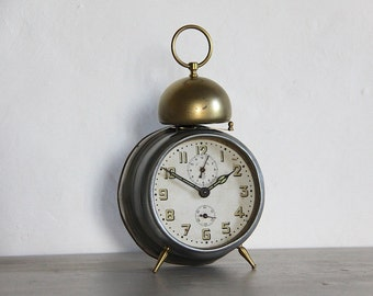 LARGE Antique Alarm Clock Industrial Loft Deco Bell Alarm, Beautiful detail
