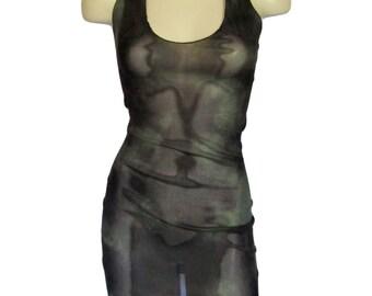 Mini Halter Dress in Sheer Mesh Camo Stripper Lingerie One Size