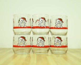 Vintage Libbey Teddy Bear Holiday Christmas Glasses: Set of 6