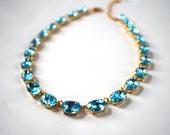 Aquamarine Blue Necklace, Aqua Collet Necklace, Blue Anna Wintour, Riviere Necklace, Reproduction Jewelry, 18th Century, 19th Century Blue