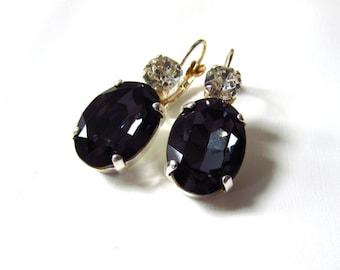 Jet Black Crystal Earrings, Jet Mourning Earrings, Mourning Jewelry, Black Rhinestone Jewelry, Regency Earrings, Victorian Mourning, Gothic