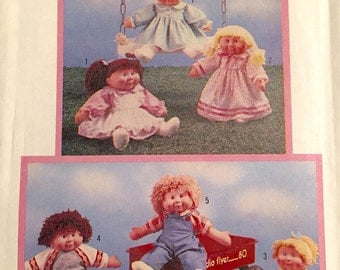 Doll Clothes, Cabbage Patch Kids Simplicity Pattern 6823 Wardrobe For Soft Sculptured Dolls Uncut