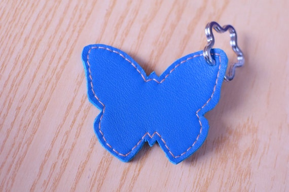 Leather keychain,leather keyring,butterfly keychain,butterfly keyring,butterfly leather,turquoise butterfly,turquoise keychain,butterfly