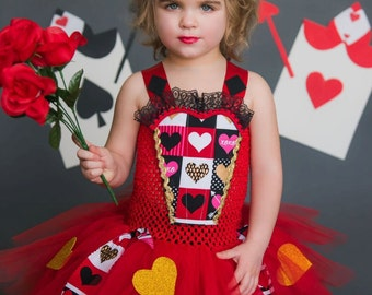 Queen of Hearts tutu dress and costume in red