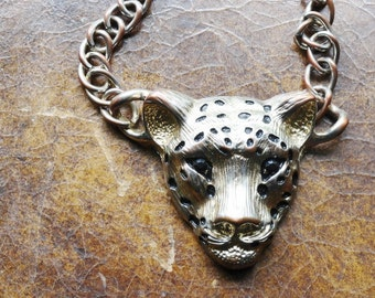 vintage Large Silver Leopard Head Pendent| Vintage Art Deco 1970s Leopard Head Necklace Faceted Black Bead Eyes|Unisex Jewelry Leopard Head