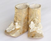 Gold Boot, Baby & Toddler, Metallic Baby shoe, Gold Toddler Boot, Wedding Shoe, Booties, Crib Shoe, Little Girl, Baby Souls Couture Shoes
