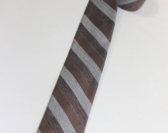 vintage 50's - 60's Narrow neck tie. Cotton & Rayon blend. Bar stripes...Gray, Plum, and Black/Taupe ribbon. Square ends.