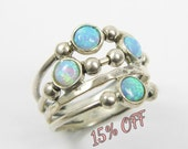 Silver opal ring. spheres sterling silver ring, Sterling silver ring. Opal ring. Opal silver ring. Wide opal ring. Wide ring.(sr10019)