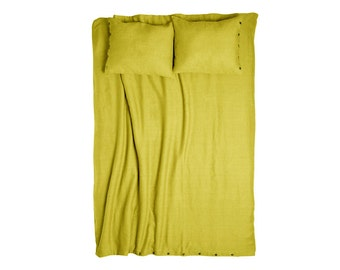 Linen duvet cover, linen bedding, duvet cover queen, linen duvet cover king, full, double, twin. Mustard yellow bedding. Custom bedding