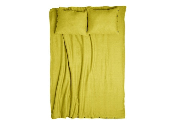 Linen duvet cover, linen bedding, duvet cover queen, linen duvet cover king, full, double, twin. Mustard yellow bedding. Custom bed linens.