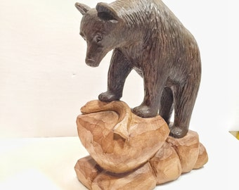 BEAR CARVING with Salmon - Carving - wood carving - folk art carving - hunter gift - for him - rustic decor