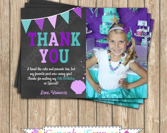 Ariel little mermaid Birthday Party photo Thank You Card #2 PRINTABLE 5x7 4x6  under the sea ariel Inspired DIY girls first birthday