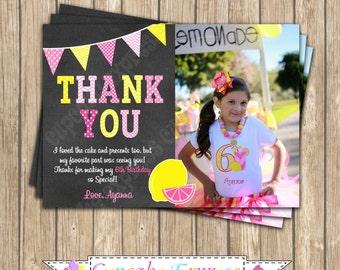 Pink Lemonade Sunshine Birthday Party  photo Thank You Card PRINTABLE  2 chalkboard summer  lemons pink yellow DIY cupcake express
