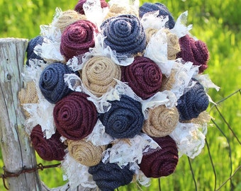 Navy and Wine burlap wedding bouquet / maroon and navy / wine and marine / rustic wedding bouquet / burlap and lace / bridal bouquet / bride