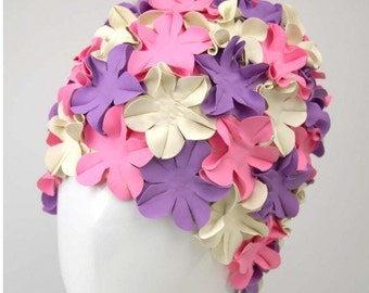 Swim Cap - Vintage style Pink Purple White swimming hat Flower cap Bathing cap Pool Flower swimming cap
