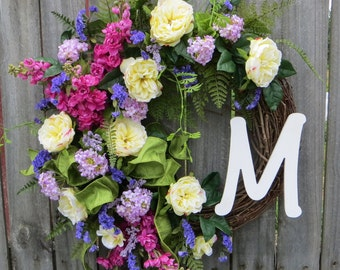 English Garden Wreath - Wreath for Spring and Summer - Monogram Wreath, Formal Rose Wreath with Letter, Door Wreath, Front Door Wreath
