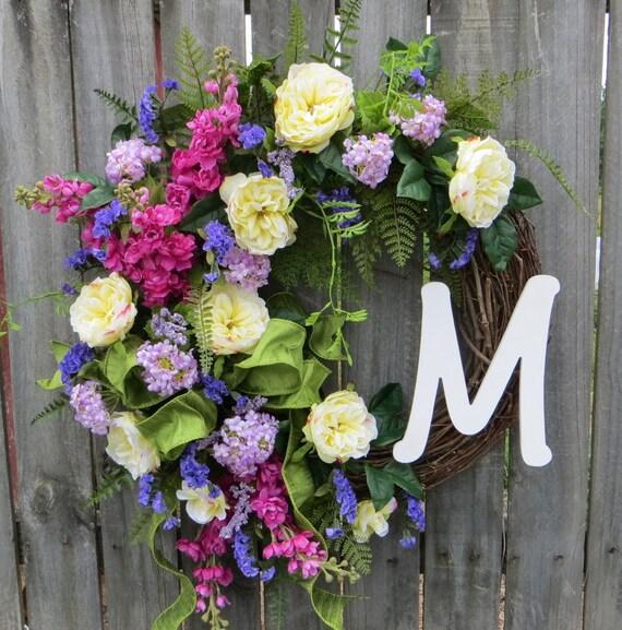 English Garden Wreath - Wreath for Spring and Summer - Monogram Wreath, Formal Rose Wreath with Letter, Door Wreath, Front Door Wreath