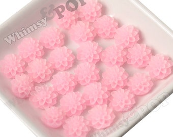 15mm - Frosted Light Pink Chrysanthemum Flower Cabochons, Flower Cabs, Dahlia Flatbacks, Mum Shaped, Chrysanthemum Cabochons, (R3-092)