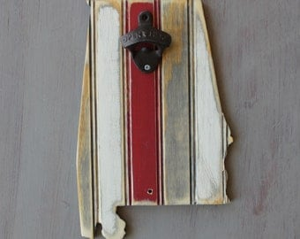 State Bottle Opener - Wooden Alabama, Nantucket Bead Board with White and Antique Red, All states avaliable