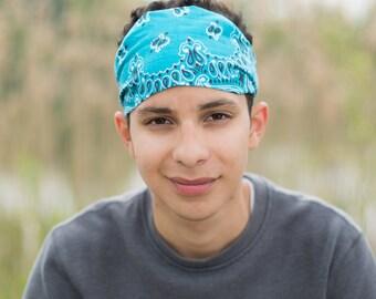 Men's Festival Hair Band Turquoise Yoga Bandana for Men Headwrap Head Scarf Blue Bandana Headscarf Extra Wide Headband (#4017) S M L X