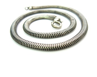 Forstner Sterling Silver Snake Necklace. 5 mm Supple Choker Chain. 1940s Vintage Retro Jewelry. 29.8 g
