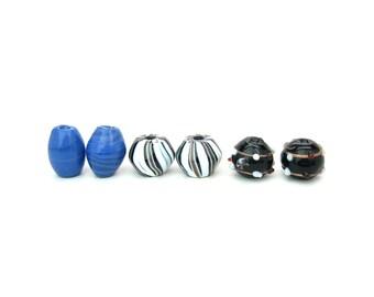 Handmade Glass Beads. Lot of 6. Three Sets of 2. Venetian Lampwork, Blue, Black, Stripe Aventurine. Vintage Boho Supply, Craft, Jewelry