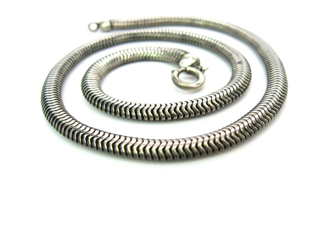 sterling silver snake necklace supple chain choker signed