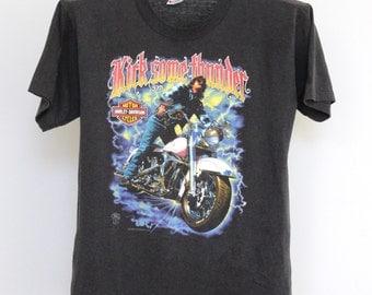Harley Davidson T Shirt Mens Medium Unisex Womens Vintage 80s 1988 Motorcycle Thin Soft Kick Some Thunder Holoubek Biker T 50 50 USA