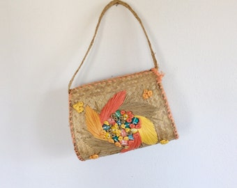 Vintage Handbag / 50s Straw Handbag / 60s Straw Handbag / Bermuda Bag / Raffia Handbag / Embroidered Handbag / Resort Bag