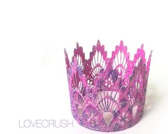 Ready to Ship || Mermaid pattern MINI Sienna lace crown || unique || hot pink + purple  ||headband option|| waterproof