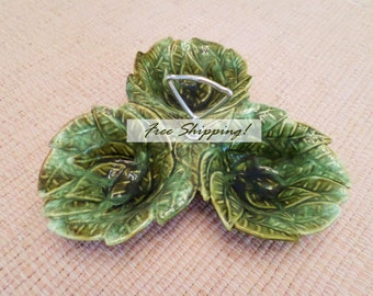 California Pottery 724 Avocado Relish Server Majolica Glaze Vintage 1950s Free Shipping!