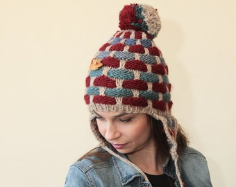 Hand Knit Hat Earflap with Pompom by Solandia, beige blue oxblood, women children Christmas